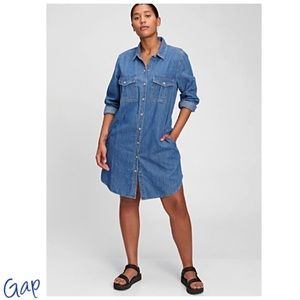 ♥️ GAP Utility Dress Relaxed Fit-Denim- POCKETS! Hit's Above Knee NWT'S-$89.99